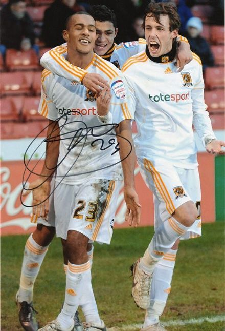 Jay Simpson, Hull City, signed 12x8 inch photo.
